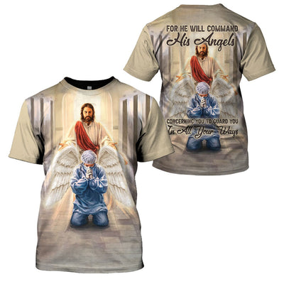 3D Christian Apparel - For He Will Command His Angels