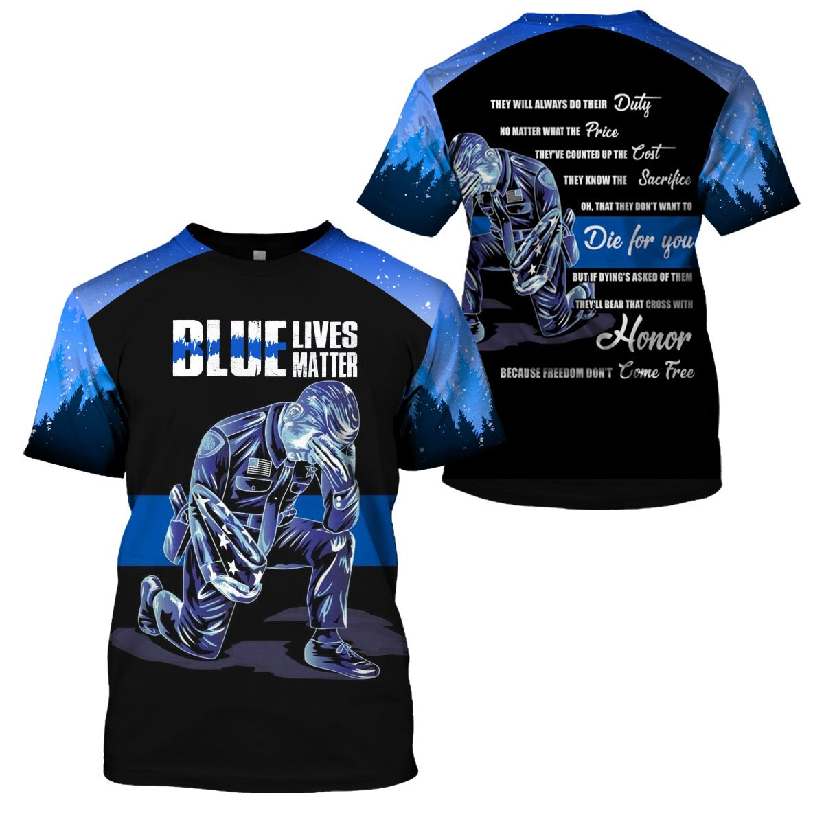 3D Police Apparel - Blue Lives Matter Limited Edition - 4zOutfitters Merchandise