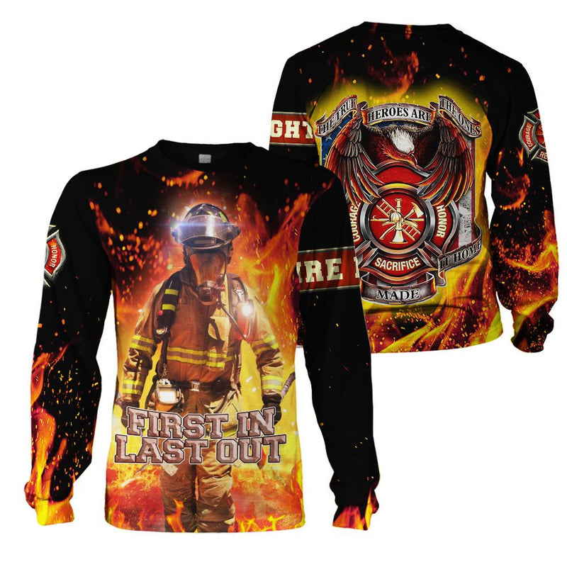 3D Firefighter Apparel - First In Last Out - 4zOutfitters Merchandise