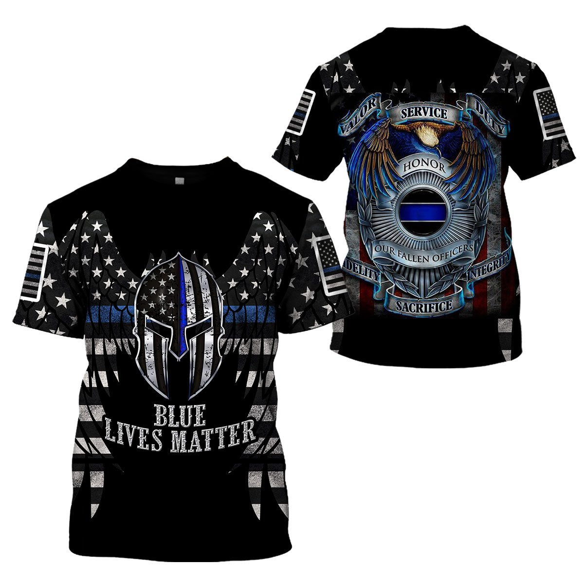 3D Thin Blue Line Apparel - Blue Lives Matter - 4zOutfitters Merchandise