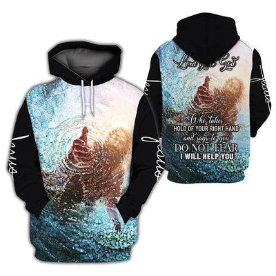 3D Christian Hoodie - Hands Of God- Do Not Fear - GnWarriors Clothing