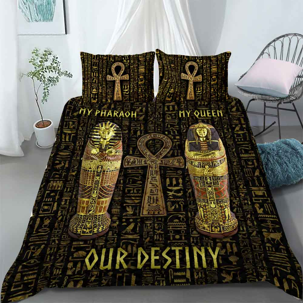 Bedding Set - Ancient Egypt Couple Pharaoh And Queen