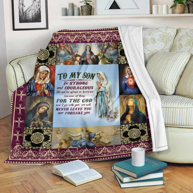 Trending Christian Quilt Collection - To My Son - Be Strong And Courageous - GnWarriors Clothing