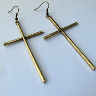 Cross Drop Earrings - GnWarriors Clothing