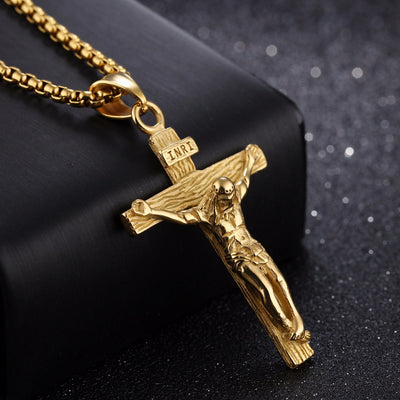 Gold Silver Color Metal Cross Necklace Punk Jesus - GnWarriors Clothing