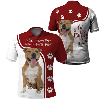 3d apparel - Life is better with a dog -  Pitbull - 4zOutfitters Merchandise