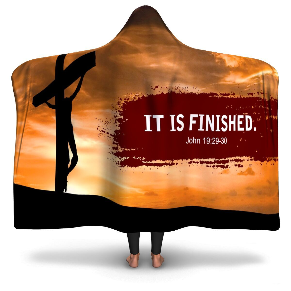 Christian Hooded Blanket - It Is Finished, Scripture and Quotes Outdoor Blanket, Festival and Couch Blanket - GnWarriors Clothing