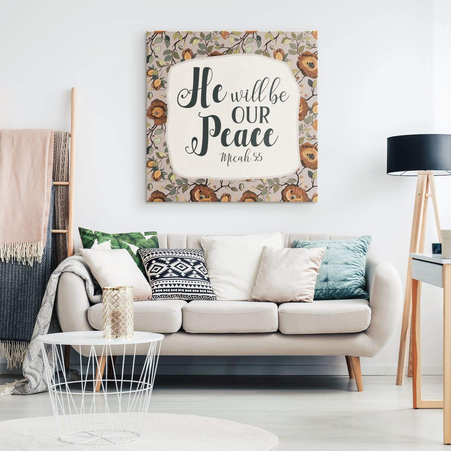 Micah 5:5 He will be our peace canvas wall art - GnWarriors Clothing