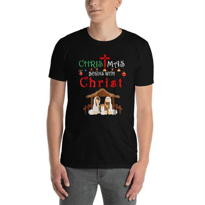 Short-Sleeve Unisex T-Shirt Christmas Begins With Christ - GnWarriors Clothing