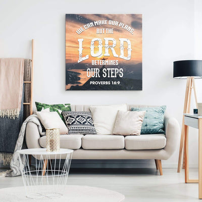 Proverbs 16:9 We can make our plans but the lord determines our steps canvas wall art - Square - GnWarriors Clothing