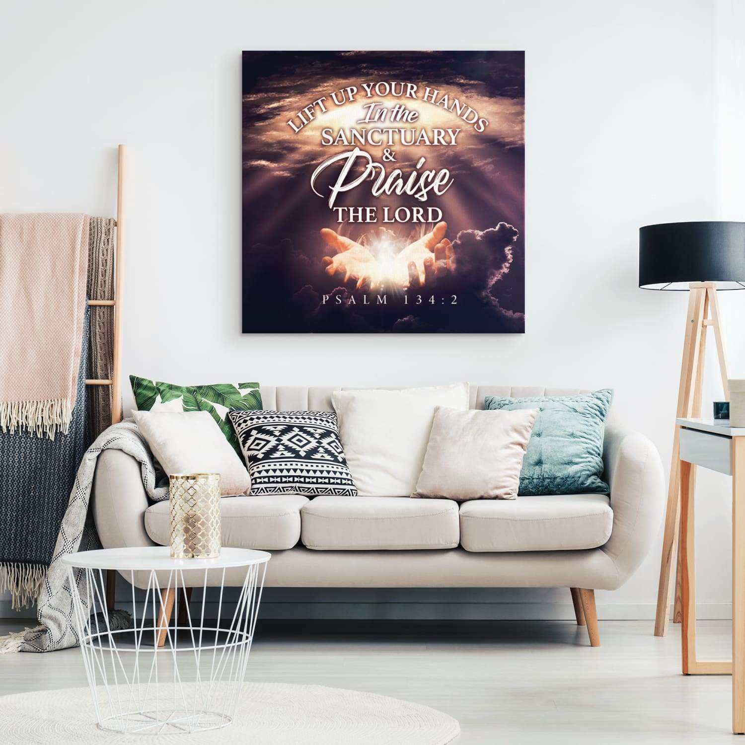 Psalm 134:2 Lift up your hands in the sanctuary and praise the Lord canvas wall art - Square - GnWarriors Clothing