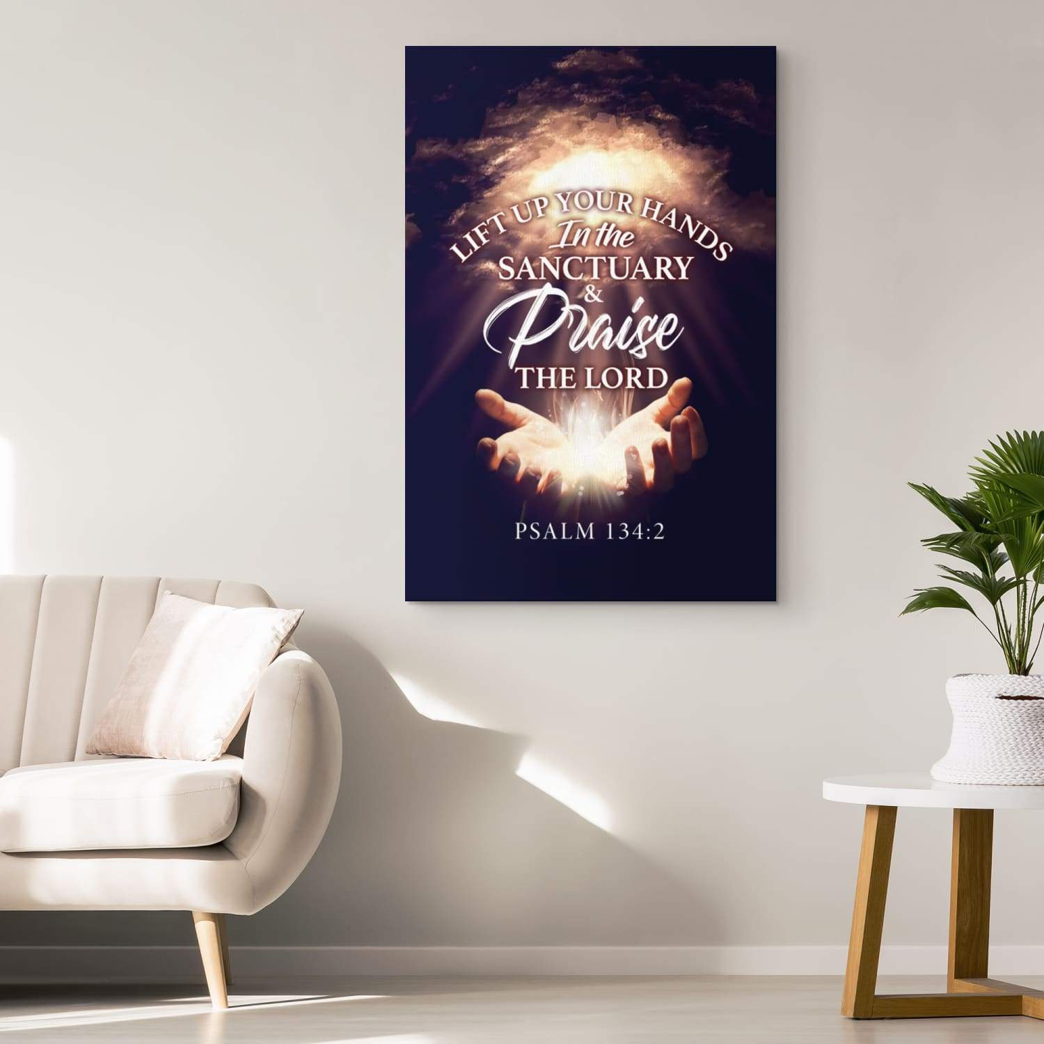 Psalm 134:2 Lift up your hands in the sanctuary and praise the Lord canvas wall art - GnWarriors Clothing