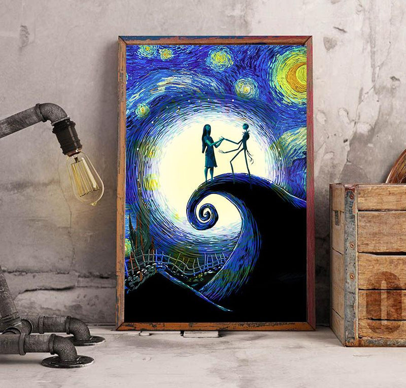 3D Canvas - Starry night - Jack and Sally