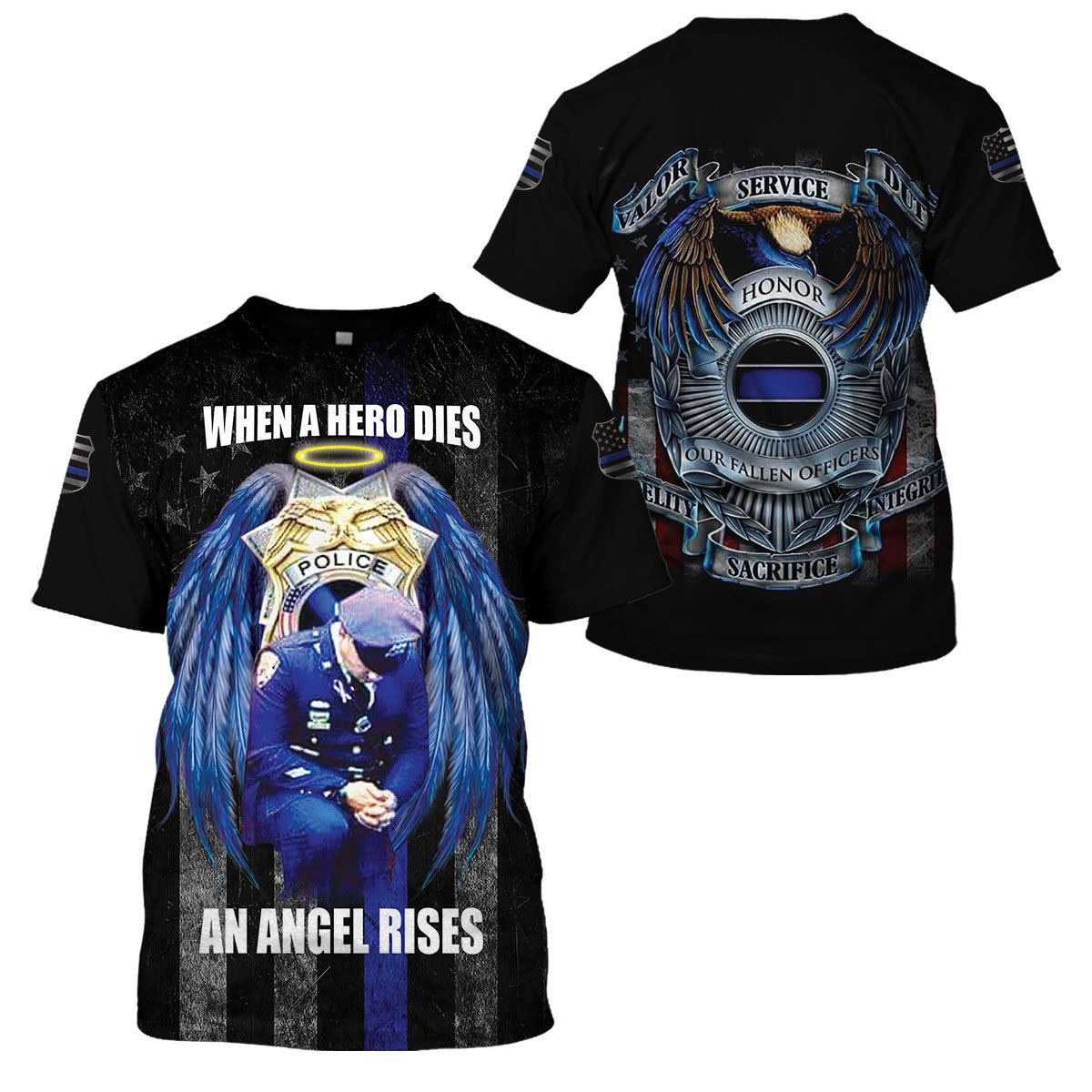 3D Thin Blue Line Apparel - When A Hero Dies An Angel Rises Limited Edition - 4zOutfitters Merchandise