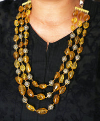 Advaita Handicrafts tourmaline tumbles and anitque cum CZ bead necklaces