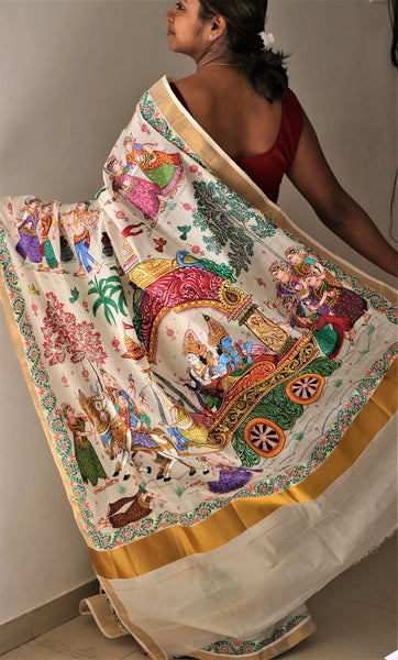 Advaita Handicrafts hand painted Patachitra saree - Krishna Mathura Gaman