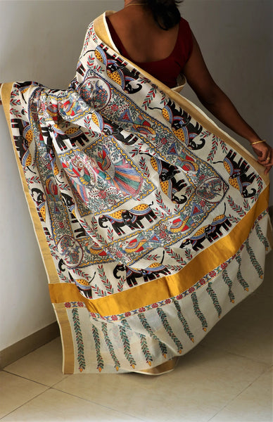 Advaita Handicrafts hand painted Madhubani Saree