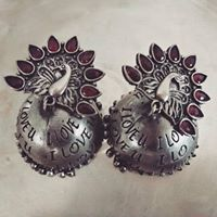 Brass Antique silver finish high quality statement jhumkas