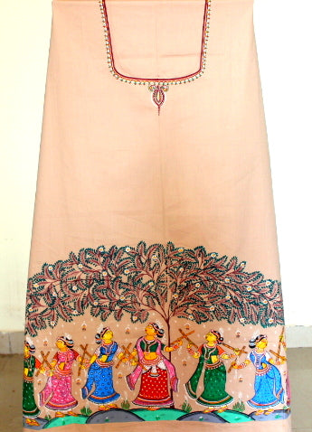 Patachitra Dress material - Gopis dance