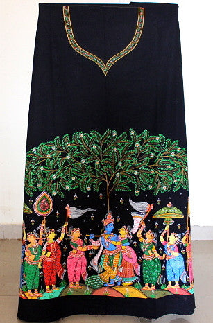 Patachitra Dress material - Krishna Raasleela
