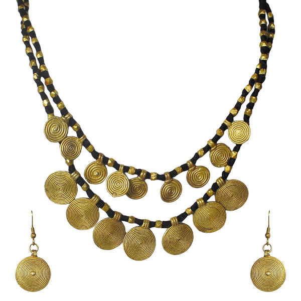 Dhokra double line disc tribal beads necklace set