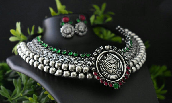 Advaita Handicrafts german silver heavy choker - Durga Temple Jewelery - Click for Variety