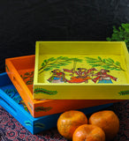 Hand Painted Wood Serving Tray in Pattachitra folk art - Yellow Color