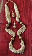 Advaita Handicrafts White multi strand antique beads necklace set