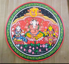 Patachitra hand-painted wall/table plate for home decor/ Original art work wall plate/ Ganesha Laxmi Saraswati wallplate