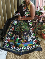 Advaita Handicrafts - Krishna raasleela saree in black
