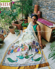 Advaita Handicrafts Hand painted Raasleela Saree