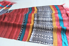 Pure tassar dupatta cum stoles - Coffee and Red