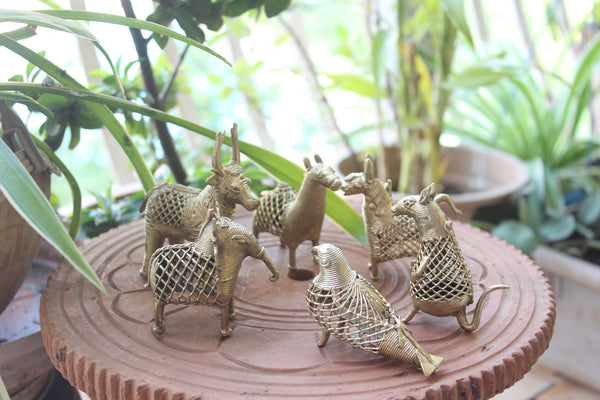 Miniature Dhokra animal & bird figurines