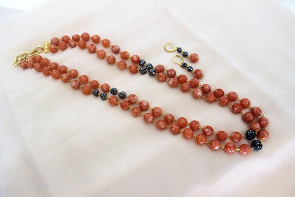Advaita Handicrafts semi precious beads necklace set - Melon Orange