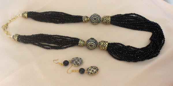 Advaita Handicrafts multi-strand long beaded Necklace set - maroon/ midnight blue/Black