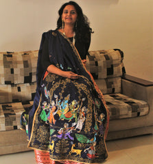 Handpainted Patachitra Dupattas - Heavy work + both sides