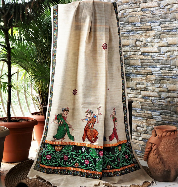 Advaita Handicrafts Handpainted Patachitra dupatta cum stole/shawl - Dancing Girls and Shringar raas