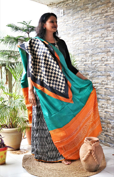 Ikkat border hand block print Tassar silk dupatta cum stole - Checks in sea green/deep blue