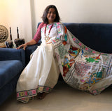 Advaita Handicrafts Pure Silk Hand-painted Patachitra Saree - Krishna in seasons