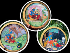 Krishna series Patachitra hand-painted wall/table plate/- Click for Options
