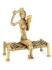 Decorative brass statue of Lady on cot combing hair/Reading/  Dhokra figurine of lady combing her hair