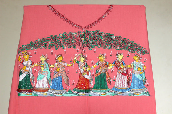 Pink Patachitra Dress material -The Dancing Gopis