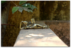 Brass Figurine - Reading lady (sleeping sideways)