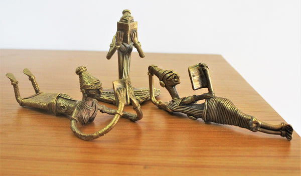 Decorative Brass Figurine statues - Set of 3 Reading ladies/ Dhokra Craft