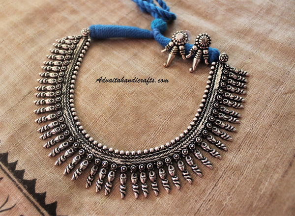 Advaita Handicrafts Pointed beads collar style German Silver Necklace Set