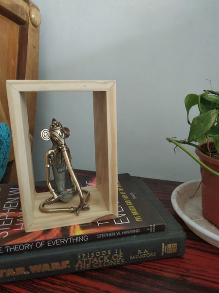 Advaita Handicrafts Brass Metal Ganesha in a Frame