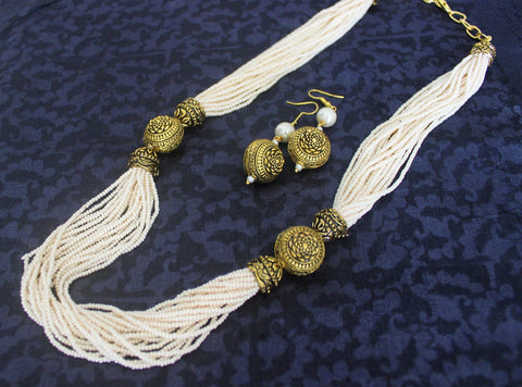 Advaita Handicrafts white multi bead chain set
