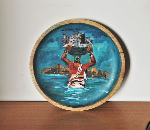 Original art work wall/ table plate - Mumbai meri jaan - The Koli Fisherwoman