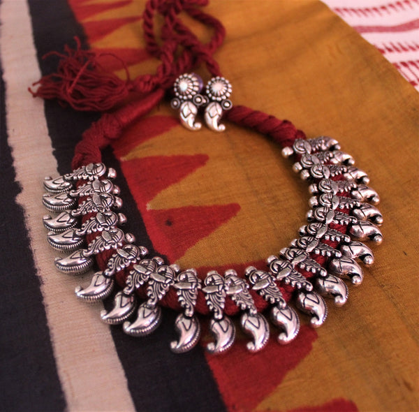 Advaita Handicrafts german silver mango beads necklace Set - Click for variety