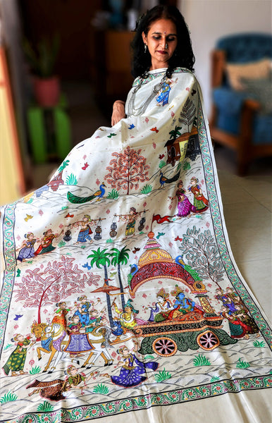 Advaita Handicrafts Pure Handspun Silk – Hand Painted Patachitra Saree – Krishna Mathura Gaman